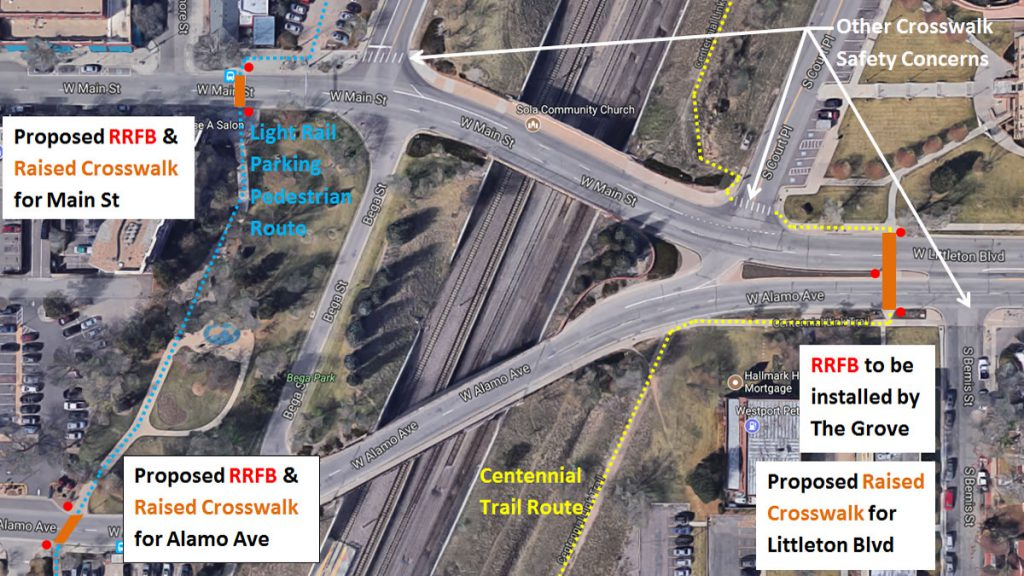 Proposed RRFB and raised crosswalk for Alamo Avenue